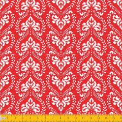 Tecido Tricoline Estampado Arabesco Adamascado Fundo Vermelho 1227v106