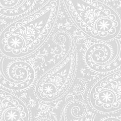 Tecido Tricoline Estampado Arabesco Branco e Gelo 1155v203