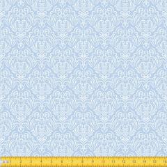 Tecido Tricoline Estampado Arabesco Fundo Azul Bebe 1223v082