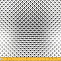 Tecido Tricoline Estampado Mini Floral Lírio Real Preto Fundo Branco 1195v103