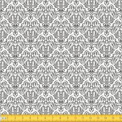 Tecido Tricoline Estampado Arabesco Preto 1223v103