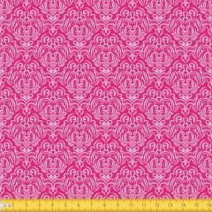 Tecido Tricoline Estampado Arabesco Fundo Rosa  1223v108