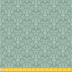 Tecido Tricoline Estampado Arabesco Fundo Verde 1223v129