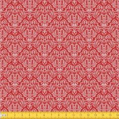 Tecido Tricoline Estampado Arabesco Fundo Vermelho 1223v106
