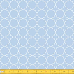 Tecido Tricoline Estampado Arabesco Geometrico Fundo Azul Bebe 1224v082