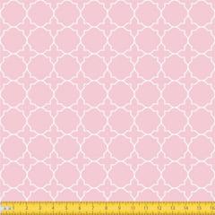 Tecido Tricoline Estampado Arabesco Geometrico Fundo Rosa Bebe 1224v081