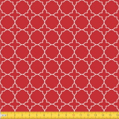 Tecido Tricoline Estampado Arabesco Geométrico Fundo Vermelho 1224v106