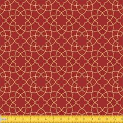 Tecido Tricoline Estampado Arabesco Natalino Fundo Vermelho 1176v58