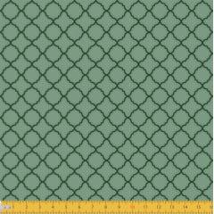 Tecido Tricoline Estampado Arabesco Português Verde 2011v06