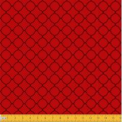 Tecido Tricoline Estampado Arabesco Português Vermelho 2011v05