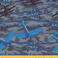 Tecido Tricoline Estampado Aviões Antigos Azul 5029v01