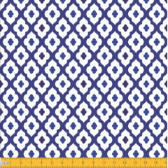 Tecido Tricoline Estampado Azulejo Azul e Branco 2044v01