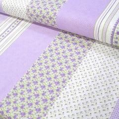 Tecido Tricoline Estampado Barrado Floral Fundo Lilás 16229c4