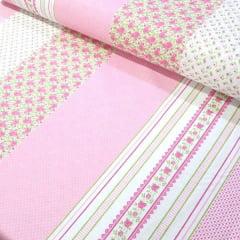 Tecido Tricoline Estampado Barrado Floral Fundo Rosa 16228c3