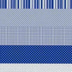 Tecido Tricoline Estampado Barrado Geometrico Patchwork Azul 181023v03