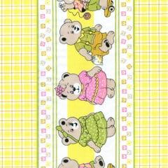 Tecido Tricoline Estampado Barrado Xadrez Baby Amarelo 181207v02