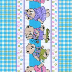 Tecido Tricoline Estampado Barrado Xadrez Baby Azul 181208v03