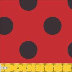 Tecido Tricoline Estampado Bolas Grandes Fundo Vermelho 1089v011