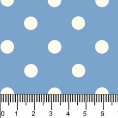 Tecido Tricoline Estampado Bolinhas Grandes Branco Fundo Azul Bebe 1554vr082