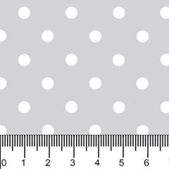 Tecido Tricoline Estampado Bolinhas Médias Branca Fundo Cinza 1039v091