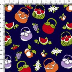 Tecido Tricoline Estampado Bolsa de Frutas Marinho 6468v01