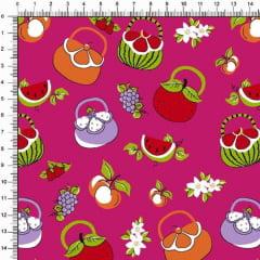 Tecido Tricoline Estampado Bolsa de Frutas Pink 6468v04