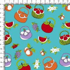 Tecido Tricoline Estampado Bolsa de Frutas Tifanny 6468v03