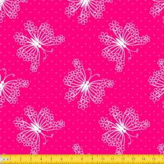 Tecido Tricoline Estampado Borboletas e Bolinhas Fundo Pink 2031v04