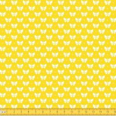Tecido Tricoline Estampado Borboletas Fundo Amarelo 1228v134