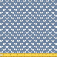 Tecido Tricoline Estampado Borboletas Fundo Azul 1228v131