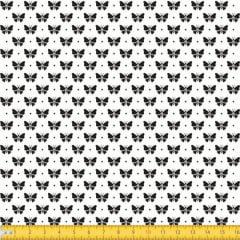 Tecido Tricoline Estampado Borboletas Fundo Branco 1228v103