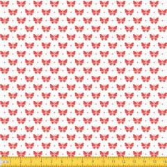 Tecido Tricoline Estampado Borboletas Vermelho Fundo Branco 1228v148