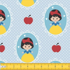 Tecido Tricoline Estampado Branca de Neve Fundo Azul 7117v02