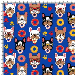 Tecido Tricoline Estampado Cachorro Donuts Fundo Azul Royal 6450v01