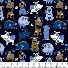 Tecido Tricoline Estampado Cachorros Azul e Marrom 6417v09