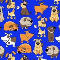 Tecido Tricoline Estampado Cachorros Azul Royal 6417v05