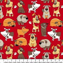 Tecido Tricoline Estampado Cachorros Fundo Vermelho 6417v06