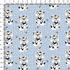 Tecido Tricoline Estampado Cãozinho e Abelha Azul 5371v01