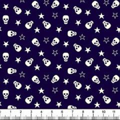 Tecido Tricoline Estampado Caveira e Estrelas Fundo Azul 1639v02