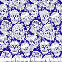 Tecido Tricoline Estampado Caveiras Arabesco Fundo Azul Royal 1864-4u