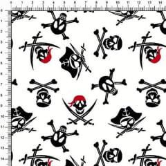 Tecido Tricoline Estampado Caveiras Pirata 2503v01
