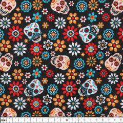 Tecido Tricoline Estampado Caveirinhas Floral 22008