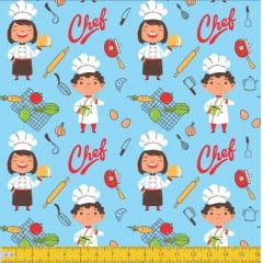 Tecido Tricoline Estampado Chef De Cozinha 6124v01
