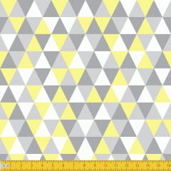 Tecido Tricoline Estampado Losango Cinza Amarelo 3048v04