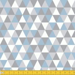 Tecido Tricoline Estampado Losango Cinza Azul Claro 3048v03