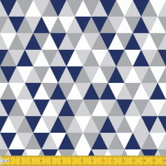 Tecido Tricoline Estampado Losango Cinza Azul Escuro 3048v01