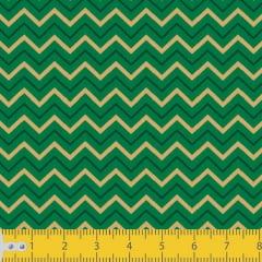 Tecido Tricoline Estampado Chevron Natalino Verde 2080v059