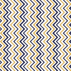 Tecido Tricoline Estampado Chevron Vertical Azul e Amarelo 1885
