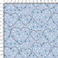 Tecido Tricoline Estampado Coração Bolinha Fundo Azul 5373v01