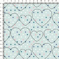 Tecido Tricoline Estampado Coração Bolinhas Coloridas 5373v04